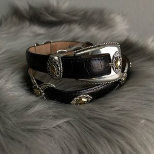 Brighton silver/gold buckle leather belt M.